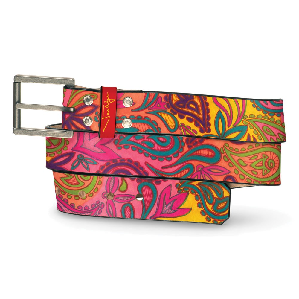 Hand Drawn Paisley Belt - Front