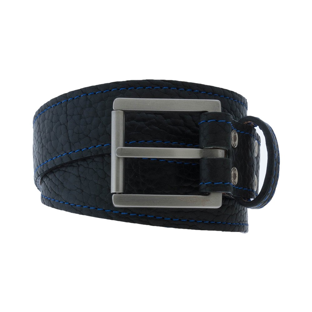 Black Bison Belt with Blue Stitching