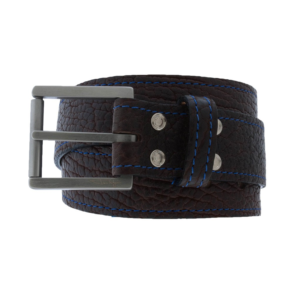 Brown Bison Leather Belt with Blue Stitching