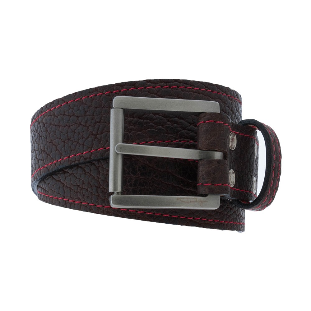Brown Bison Belt w/ red stitching