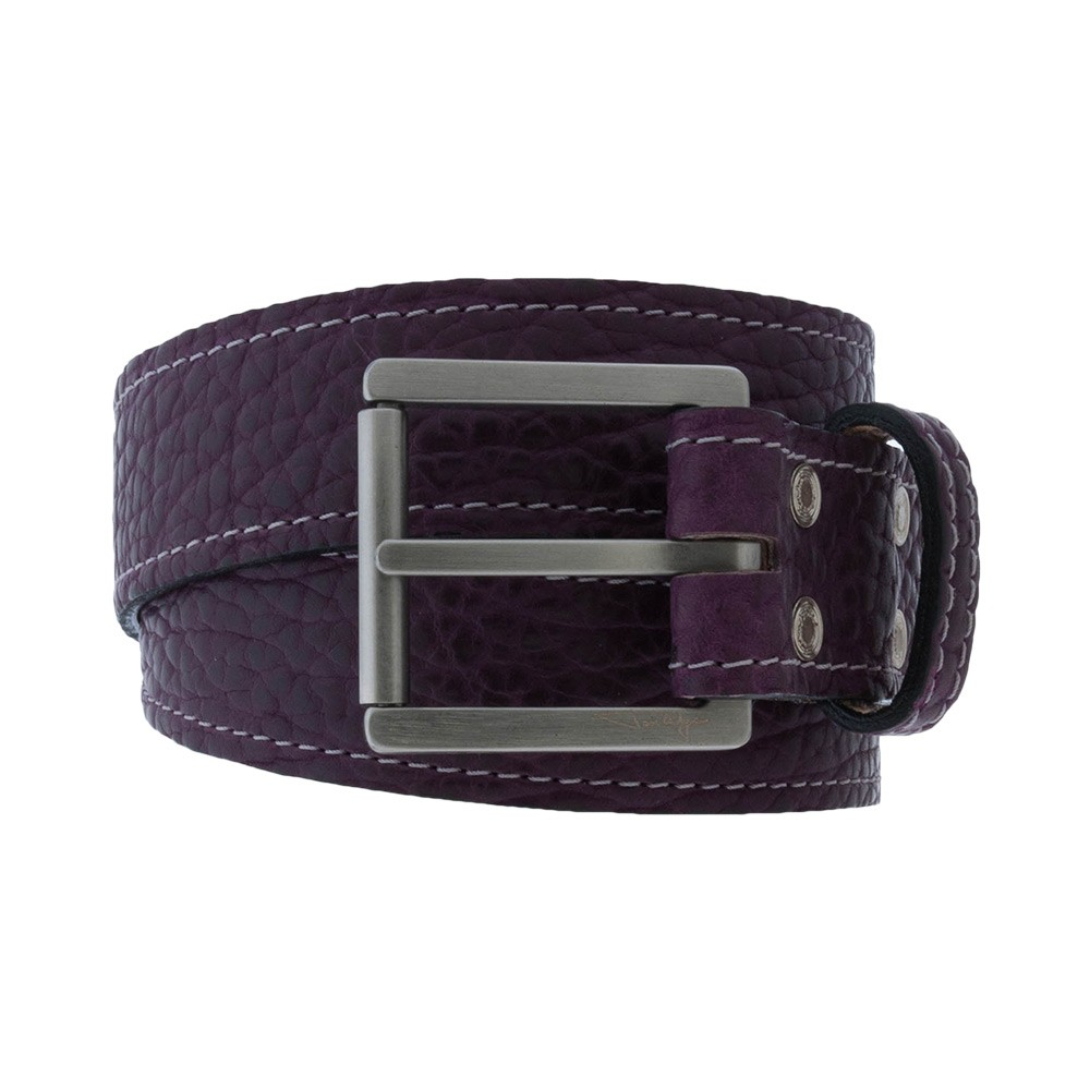 Purple Bison Belt with Silver Stitching