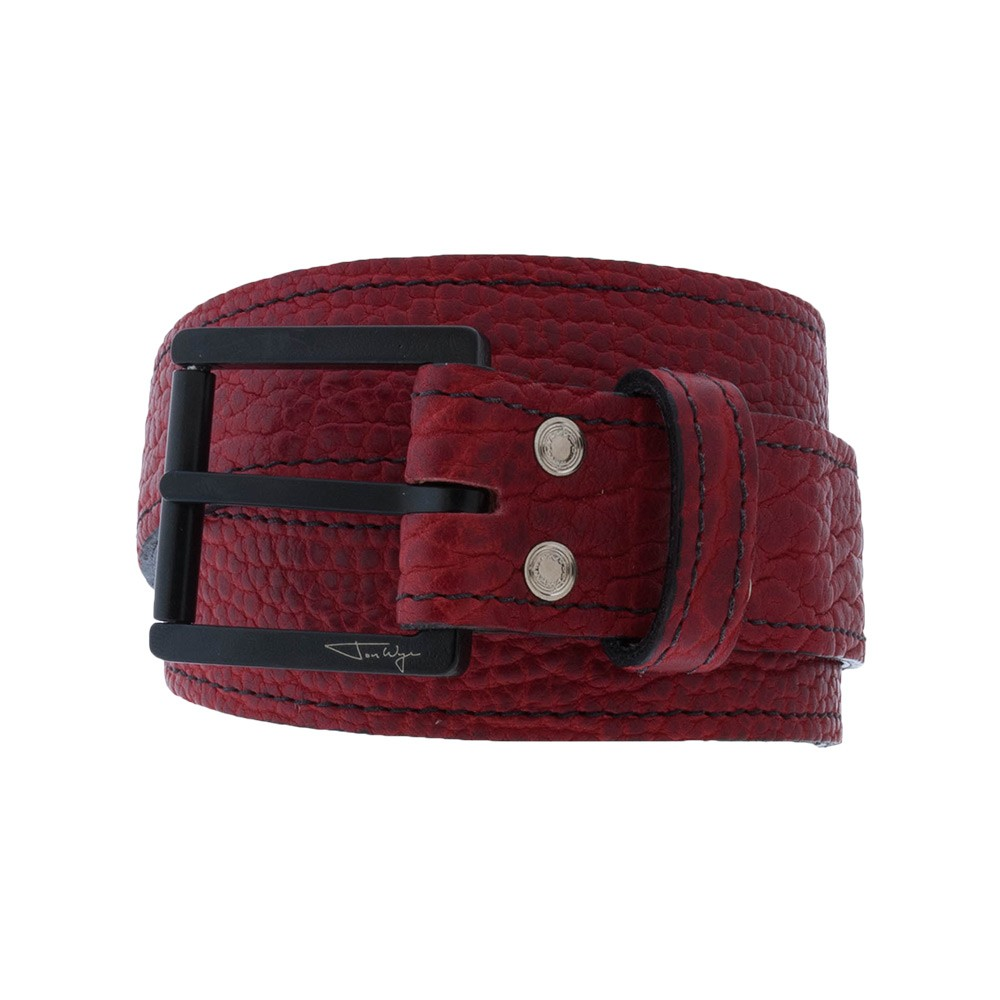 Red Bison Leather Belt with Black Stitching