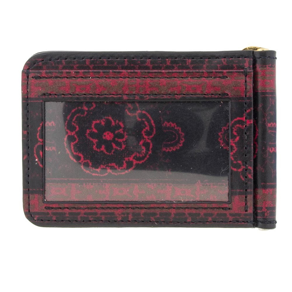 New India Print Leather Wallet: Crimson